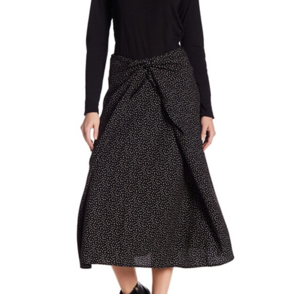 $395 Nwt Vince Celestial Polka Dot Tie Front Silk Black Skirt Sz 10 Clothing, Shoes & Accessories